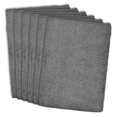 6pk Microfiber Essential Dishtowels Gray - Design Imports