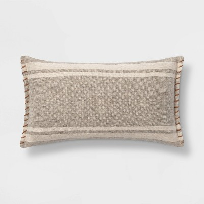 Wool/Cotton Blend Stripe Oversize Lumbar Pillow with Whipstitch Trim Neutral - Threshold™