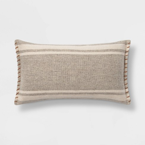 Wool/Cotton Blend Stripe Oversize Lumbar Pillow with Whipstitch Trim Neutral - Threshold™ - image 1 of 4