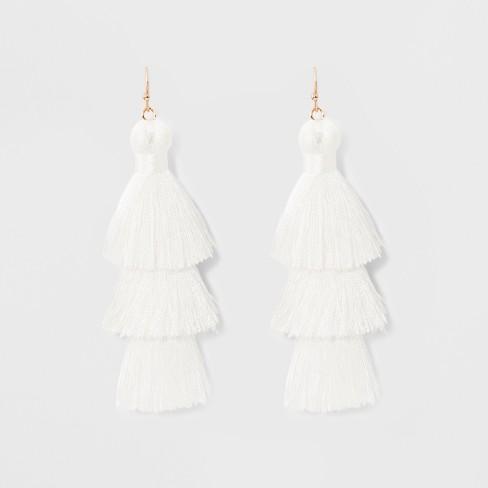 89a853563a990 Tiered Tassel Drop Earrings - SUGARFIX by BaubleBar White