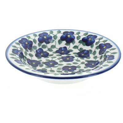 Blue Rose Polish Pottery Violets Soup Plate with Rim