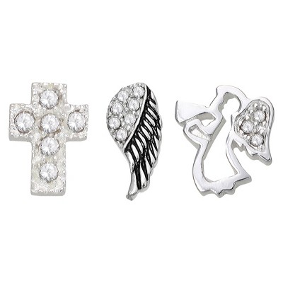 """Treasure Lockets 3 Silver Plated Charm Set with """"Angel On My Shoulder"""" Theme - Silver"""