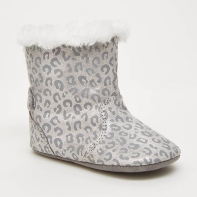 Baby Girls' Surprize by Stride Rite Winter Faux Fur Boots - Silver 12-18M