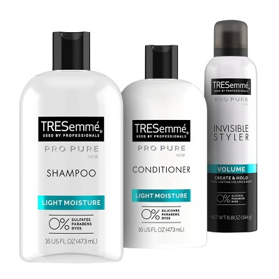 Tresemme Pro Pure Light Moisture Shampoo & Conditioner + Invisible Styler Hair Spray Bundle - 3pc