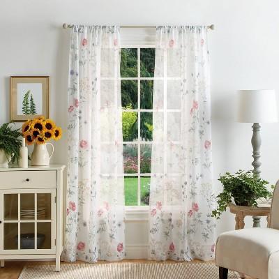 Set of 2 Martha's Garden Print Sheer Curtain Panels White - Martha Stewart