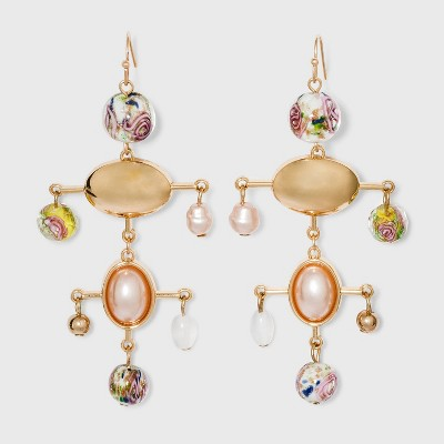 Mixed Floral Motif Mobile Drop Earrings - A New Day™