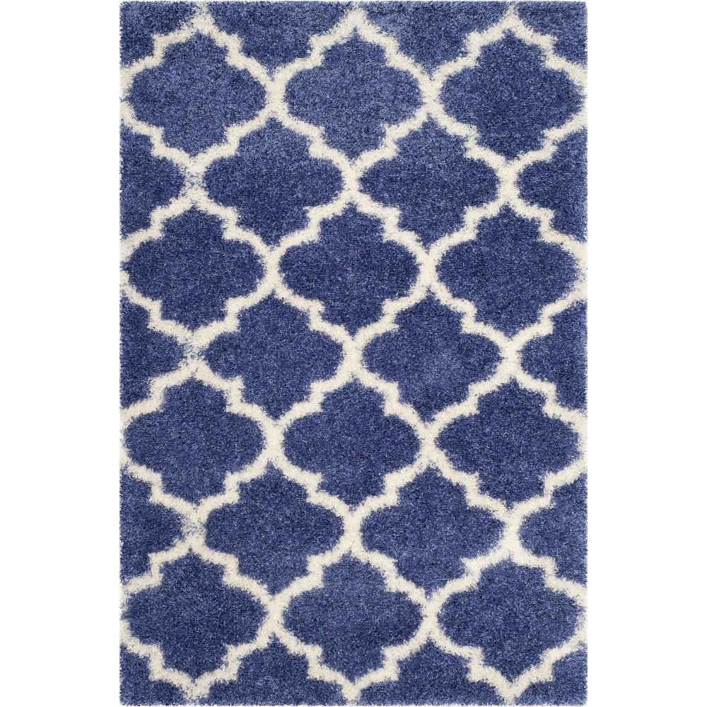 4'X6' Quatrefoil Design Loomed Area Rug Periwinkle/Ivory (Purple/Ivory) - Safavieh