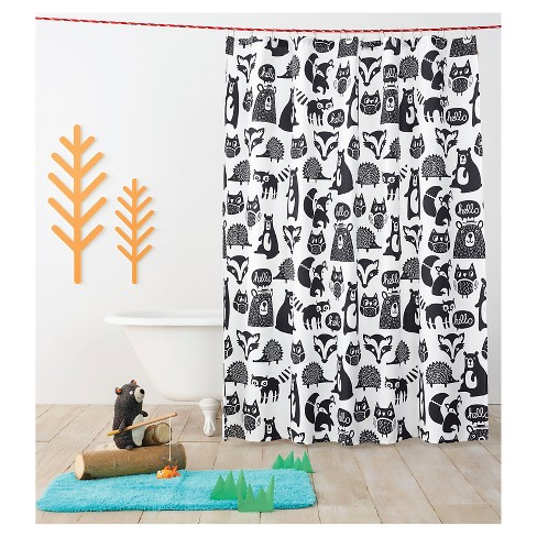 Forest Friends Shower Curtain Black - Pillowfort™ - image 1 of 2