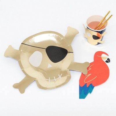 Meri Meri - Pirate Party Supplies Collection (Plate, Napkin, & Cup) - Set of 8