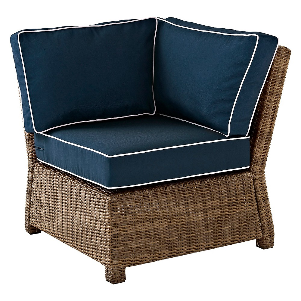 Bradenton Outdoor Wicker Sectional Corner Chair with Navy (Blue) Cushions - Crosley