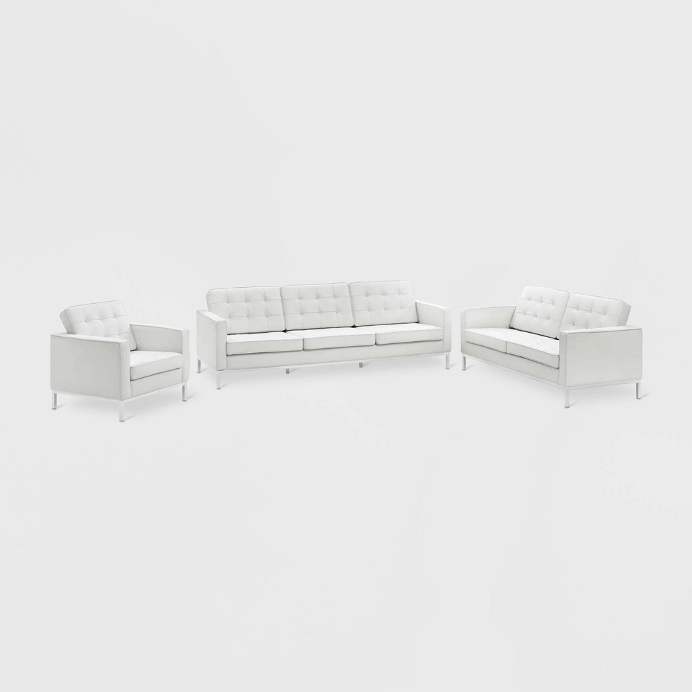 Image of 3pc Loft Leather Sofa Loveseat & Armchair Set White - Modway