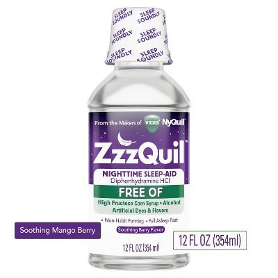 Vicks ZzzQuil Nighttime Sleep-Aid Liquid - Diphenhydramine HCl - Alcohol & Dye-Free Soothing Berry Flavor - 12 fl oz