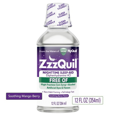 Vicks ZzzQuil Nighttime Sleep-Aid Liquid - Diphenhydramine HCl - Alcohol & Dye-Free Soothing Berry Flavor - 12 fl oz - image 1 of 4