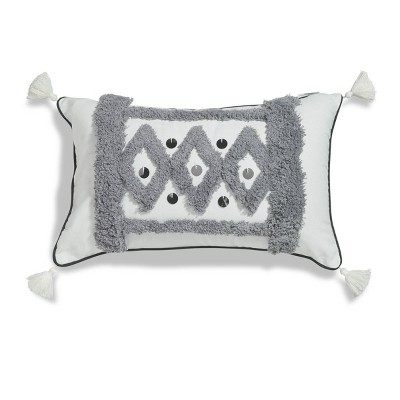 """Sure Fit Antilles Boucle 12""""x20"""" Embroidered Decorative Throw Pillow Gray/White"""