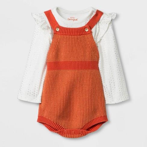 Baby Girls' Top and Bottom Sets - Cat & Jack™ Orange - image 1 of 2