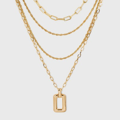 Multi Chain Layered Medallion Multi-Strand Necklace - A New Day™ Gold
