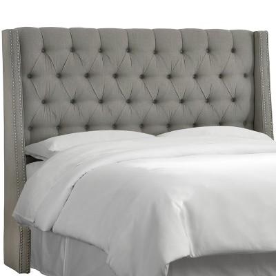 Queen Diamond Tufted Nail Button Wingback Headboard Linen Gray - Skyline Furniture