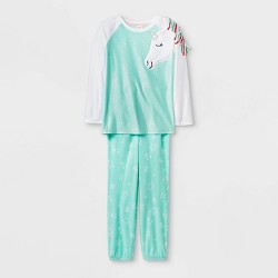 Girls' Cozy Unicorn Pajama Set - Cat & Jack™ Mint