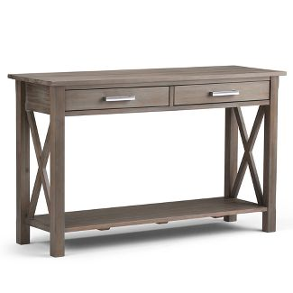 Waterloo Solid Wood Console Sofa Table Distressed Gray - Wyndenhall