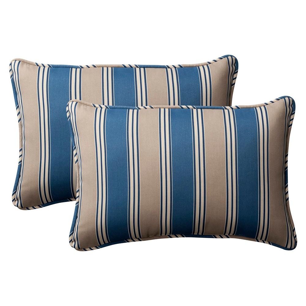 2 Piece Outdoor Toss Pillow Set Blue Beige Stripe 24