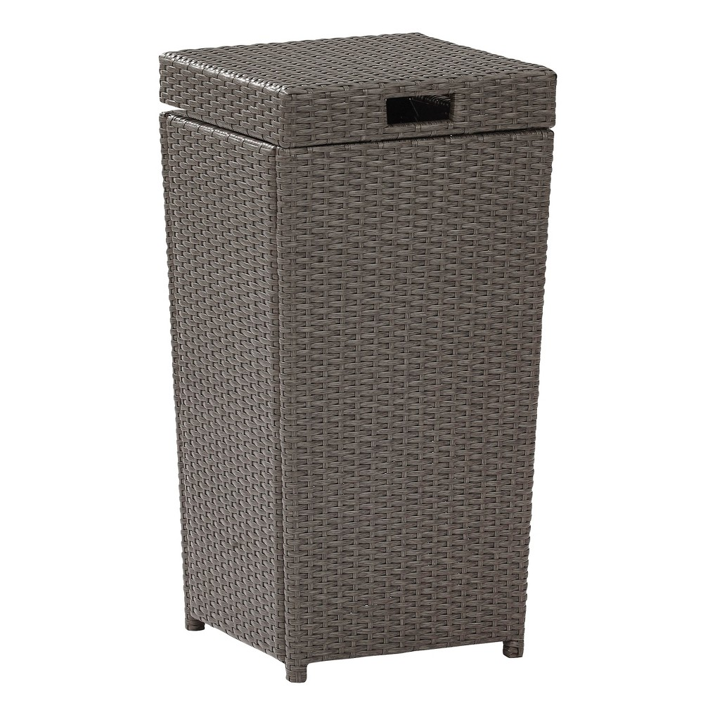 Image of Palm Harbor Outdoor Wicker Trash Bin - Gray
