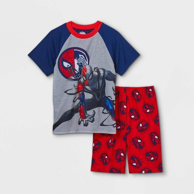 Boys' Marvel Spider Venom 2pc Pajama Set - Navy/Red