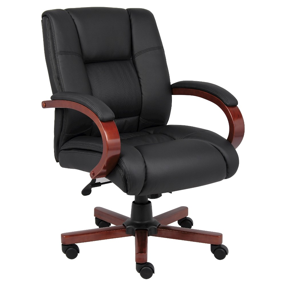 Mid Back Executive Wood Finished Chairs Black - Boss Office Products