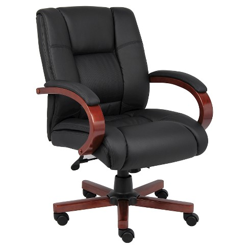 Mid Back Executive Wood Finished Chairs Black - Boss Office Products - image 1 of 4