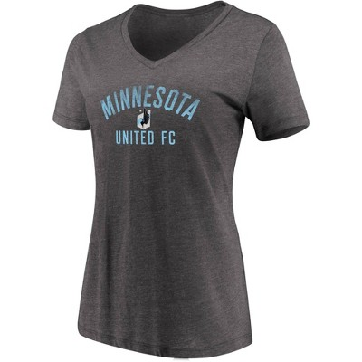 MLS Minnesota United FC Women's Short Sleeve V-Neck Gray T-Shirt