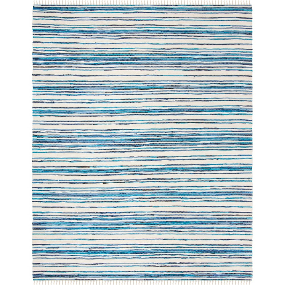 Stripe Woven Area Rug Ivory/Blue