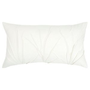 Textured Solid Decorative Filled Oversize Lumbar Throw Pillow White - Rizzy Home