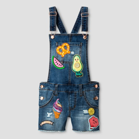 d465ad525a7 Girls  Denim Coverall Shortall with Patches - Cat   Jack™ Medium Wash