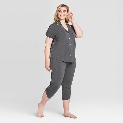 Women's Beautifully Soft Crop Notch Collar Pajama Set - Stars Above™