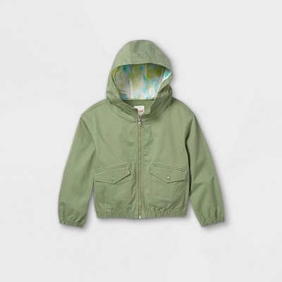 Girls' Long Sleeve Zip-Up Hooded Bomber Jacket - Cat & Jack™ Army Green