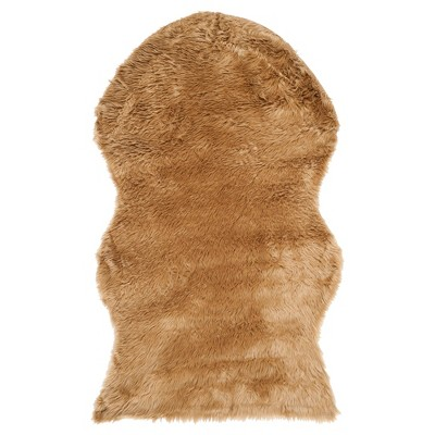 Haven Faux Sheepskin Accent Rug - Camel (3'x5')- Safavieh