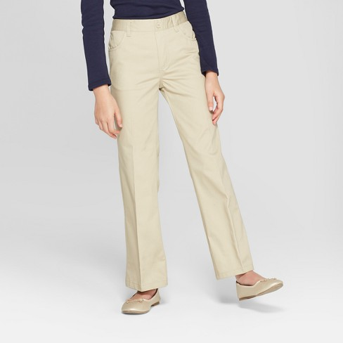 French Toast Girls' Woven Pull-On Uniform Chino Pants  - Khaki 4 - image 1 of 3