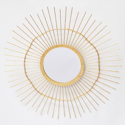 18  Round Metal Wire Irregular Wheel Decorative Wall Mirror Brass - Opalhouse™