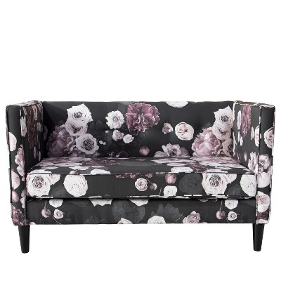 Parker Five Button Settee Black Lavender Floral - Skyline Furniture