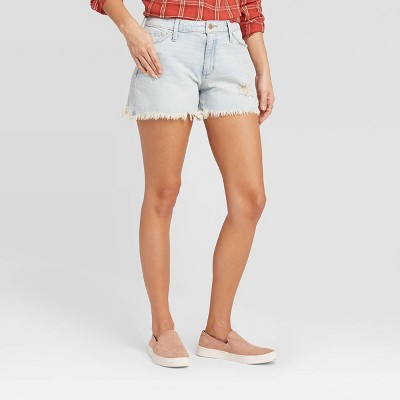 Women's High-Rise Distressed Jean Shorts - Universal Thread™ Light Wash