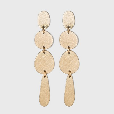 Worn Gold and Brushed Brass Mixed Shape Drop Earrings - Universal Thread™ Gold