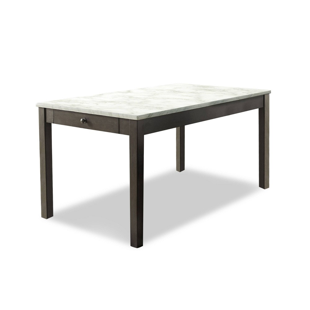 "Compare 59"" Thunderbird Faux Marble Top Dining Table White - HOMES: Inside + Out"