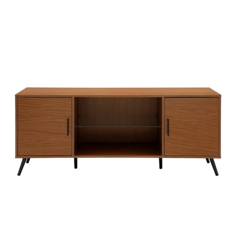 """Glass and Wood Mid-Century Modern Storage Console TV Stand for TVs up to 65"""" - Saracina Home - image 1 of 4"""