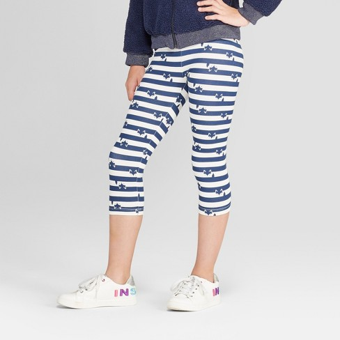 Girls' Capri Leggings - Cat & Jack™ Navy/White - image 1 of 3