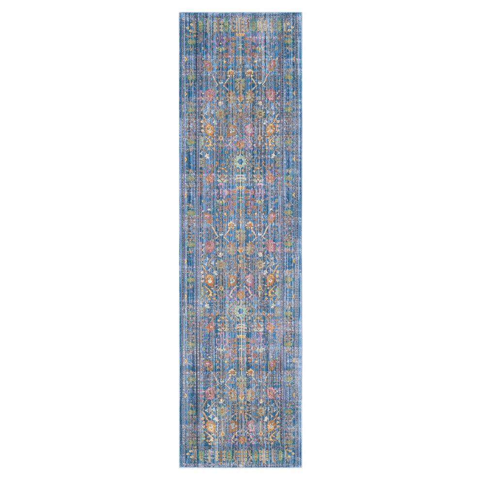 Blue Floral Loomed Runner 2'2X12' - Safavieh, Blue/Multi-Colored