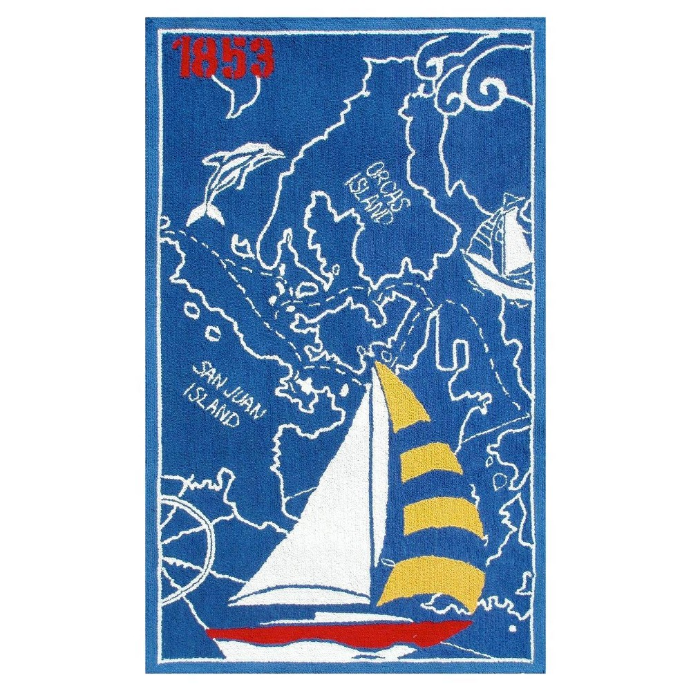 "Image of ""Blue Sail Boat Area Rug (32""""x56"""") - The Rug Market"""