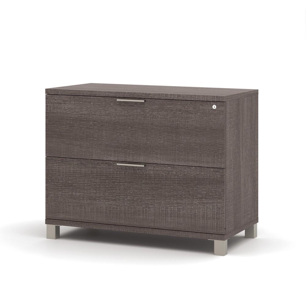 Image of 2 Drawer Pro Linea Assembled File Cabinet Bark Gray - Bestar