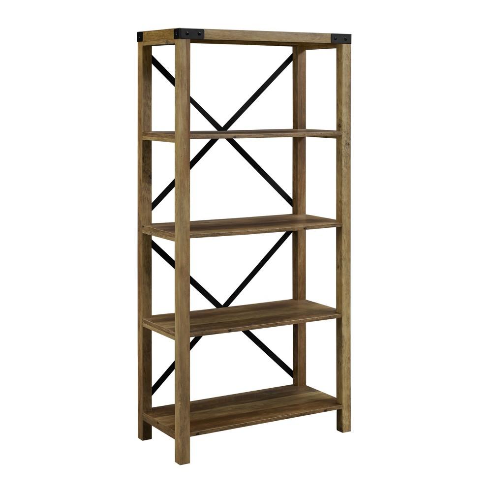 64 Farmhouse Metal Bookcase Rustic Oak - Saracina Home