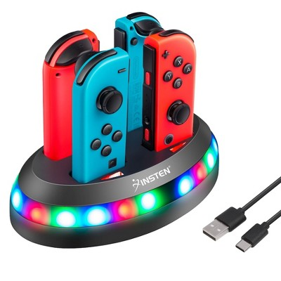 Insten Fast 4-in-1 Charger for Nintendo Switch & OLED Model Joycon Controller with RGB LED Indicator Charging Station Dock Stand Joy Cons Accessories
