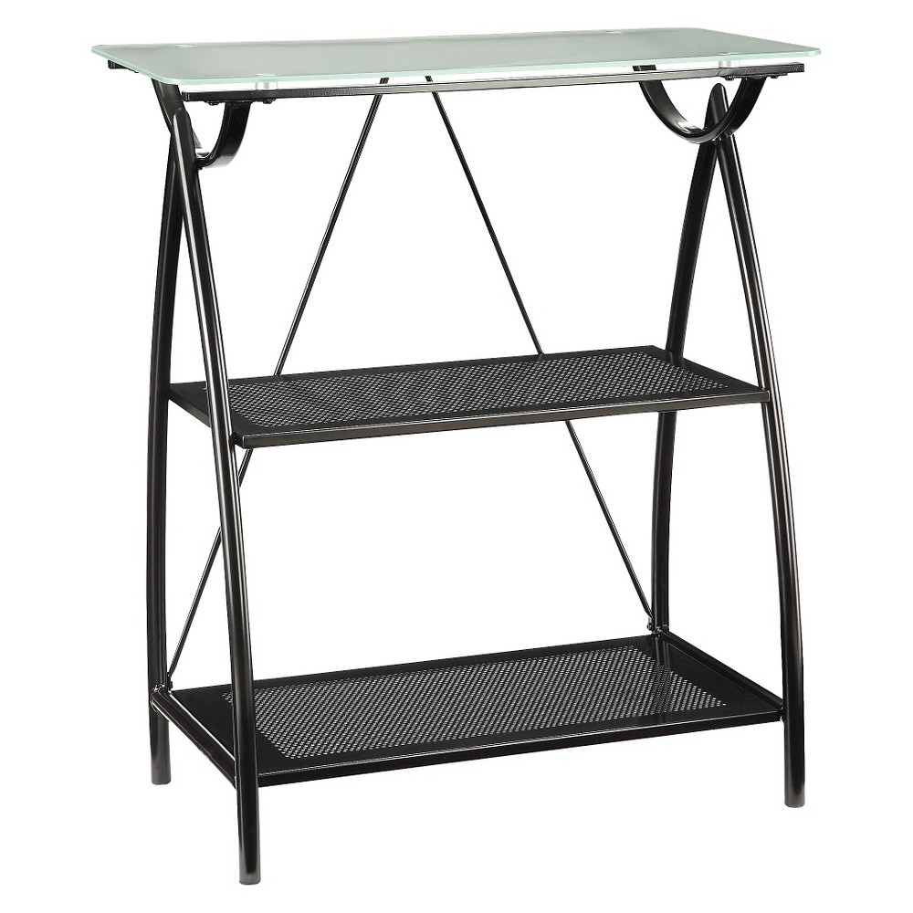 Newport 36.25 2 Shelf Bookcase with Frosted Tempered Glass Top - Office Star, Black