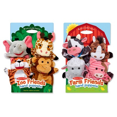 Melissa & Doug® Animal Hand Puppets (Set of 2, 4 animals in each)- Zoo Friends and Farm Friends